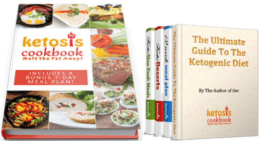 Ketogenic Cookbook Melt The Fat Away and the four bonus book such as the ultimate guide to the ketogenic diet, the keto dessert book, the 12 weeks meal plan and the slow cooker meals.