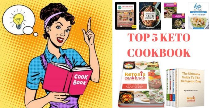This is the featured for the post best keto cookbooks, on the picture there is a woman holding a cookbook and the cover of the five cookbook which is reviewed in the article.