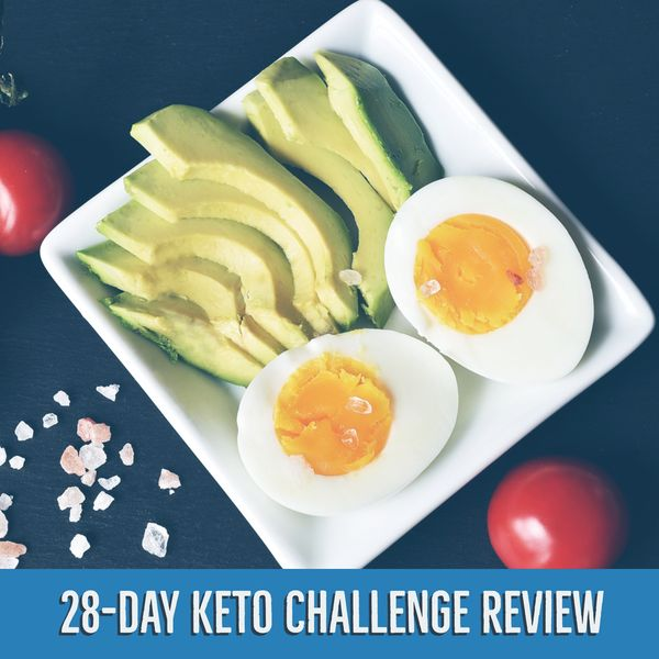 28 da keto challenge review's main image, on the image there is an avocado and some eggs as an illsutration.