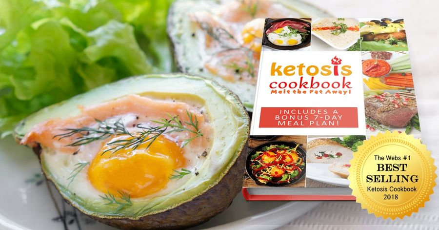 Baked avocado and a the ketosis recipe book's mockup. This is the featured image of the review.