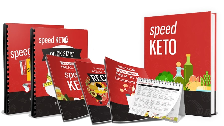 You can see all seven speedketo books together. They are mockups because the products are ebooks. All mockup is black and red with keto graphics on the front